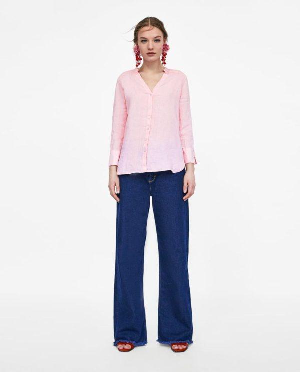 Модные женские рубашки 2018-2019: розовая
