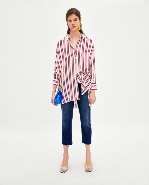 модная женская рубашка: Удлиненная в полоску