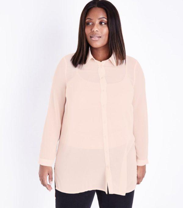 модная женская рубашка: Удлиненная бежевая