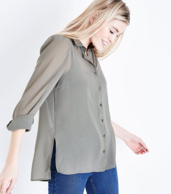 модная женская рубашка: Удлиненная серая