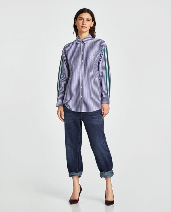 Модные женские рубашки 2018-2019: в полоску синяя