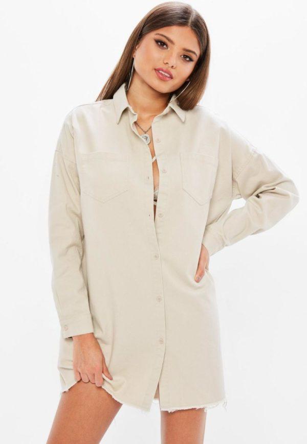 модная сорочка: Удлиненная бежевая