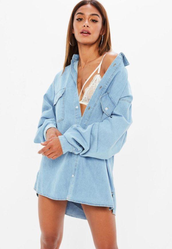 модная сорочка: Удлиненная голубая джинсовая