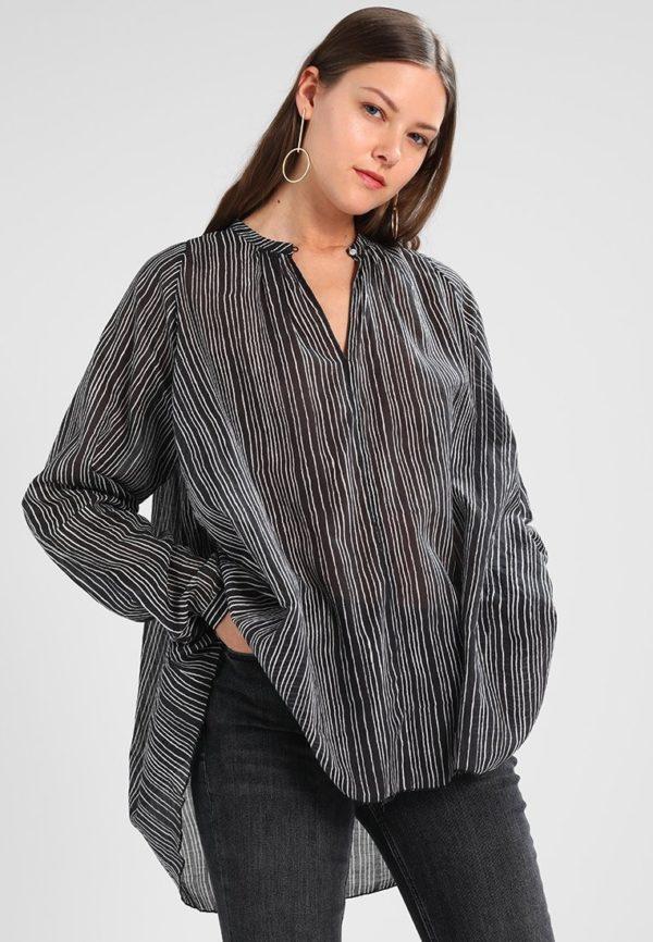 модная сорочка: черная в белую полоску