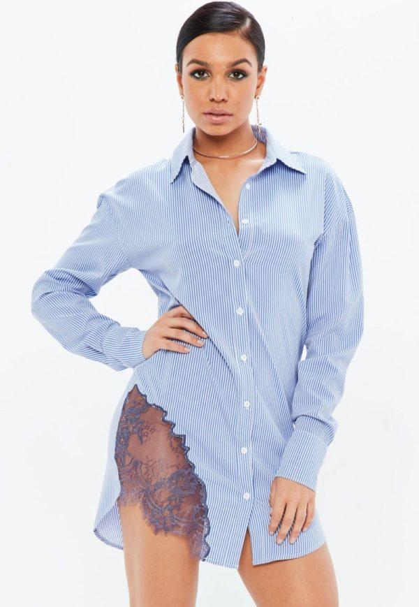 модная сорочка: голубая ажурная