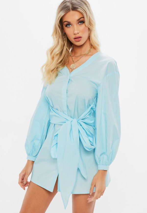 модная сорочка: голубая с поясом