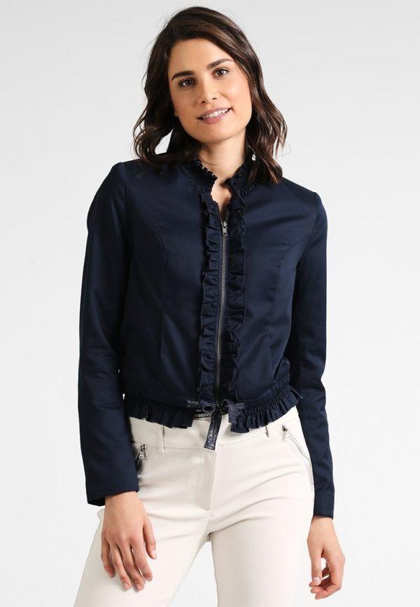 Модные женские пиджаки: темный укороченный на молнии