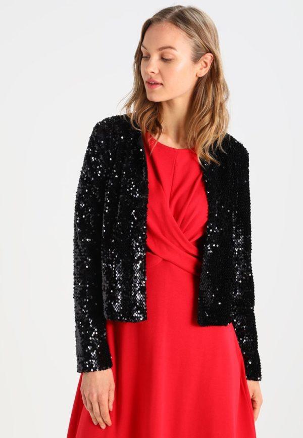 женские пиджаки: Укороченный с блёстками черный