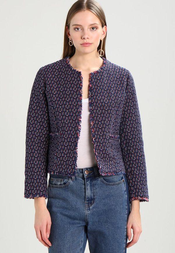 женские пиджаки: синий укороченный вышивкой
