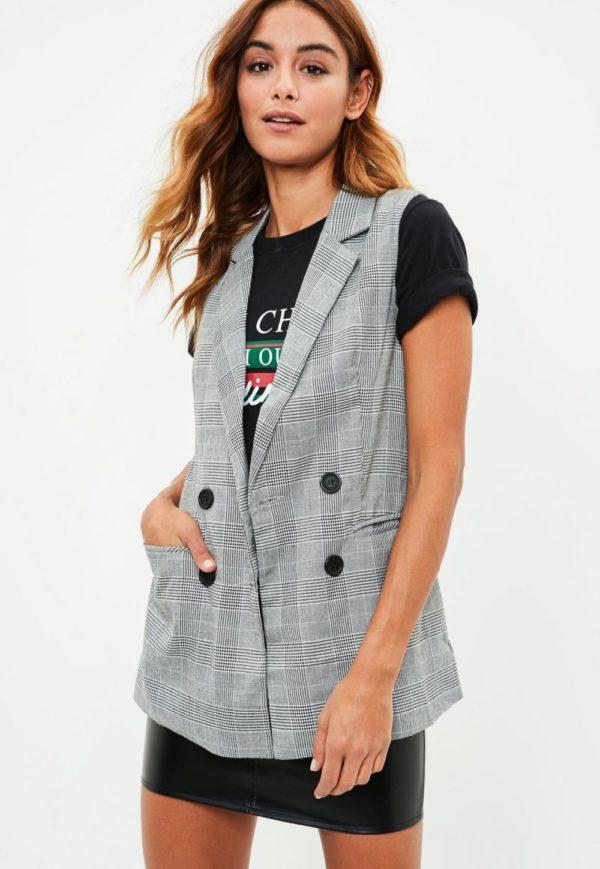 женские пиджаки: без рукавов серый