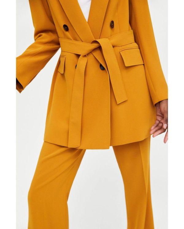 женские пиджаки: под пояс оранжевый