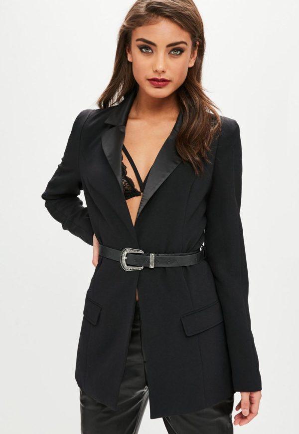 женские пиджаки: под пояс черный