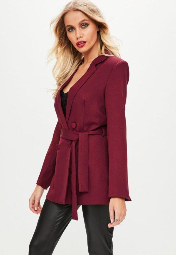женские пиджаки: под пояс бордовый
