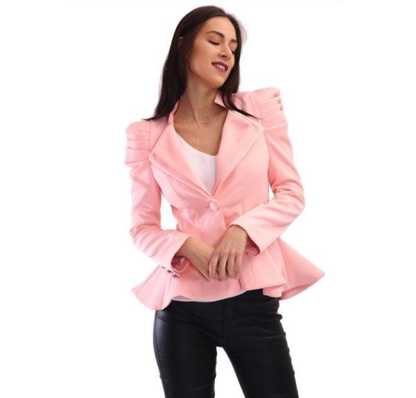 женские пиджаки: пеплум розовый