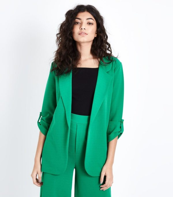 женский жакет: Удлиненный зеленый