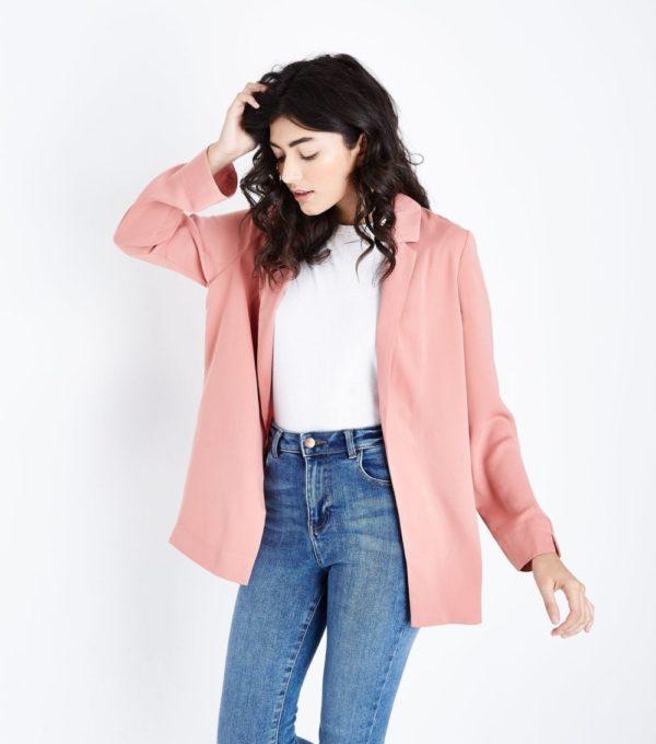 женский жакет: Удлиненный розовый
