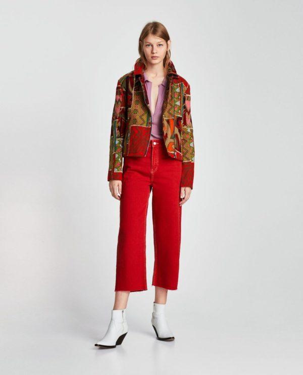 Модные женские пиджаки 2018-2019: красный с рисунком
