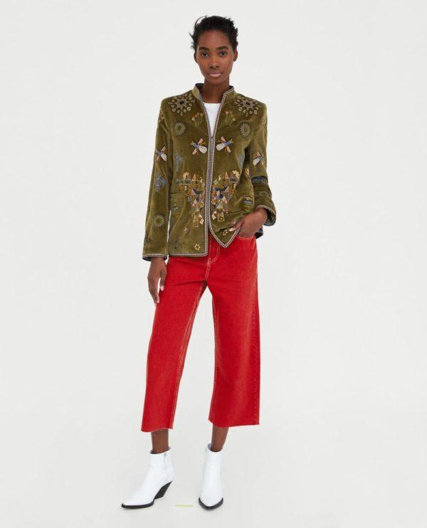 Модные женские пиджаки 2018-2019: зеленый с узорами