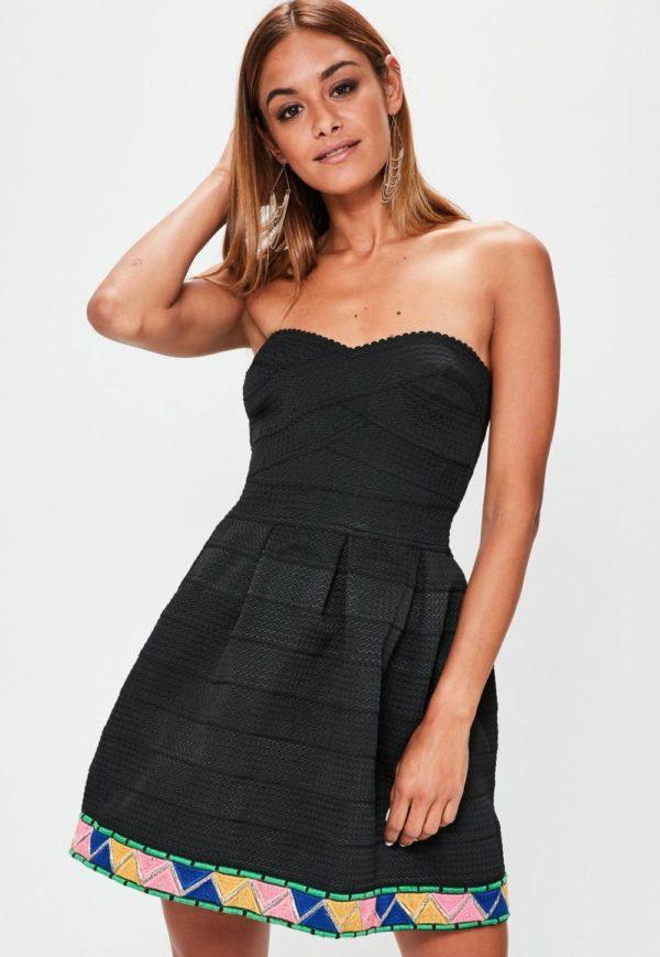 Платья 2018-2019: черное бюстье