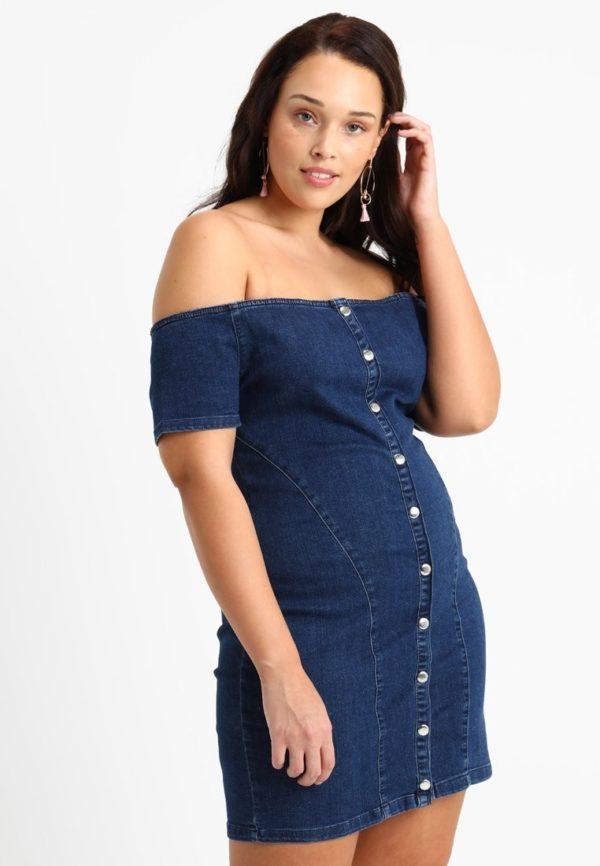 Платья 2018-2019: синее для полных джинсовое