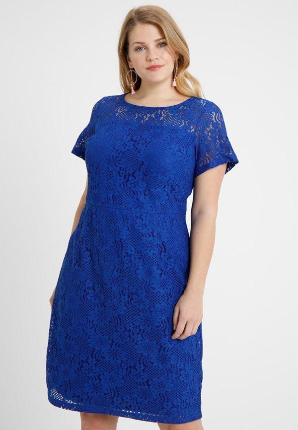 Платья 2018-2019: синее для полных