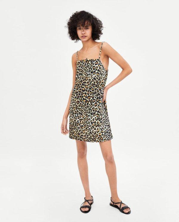 леопардовое белое платье 2018-2019