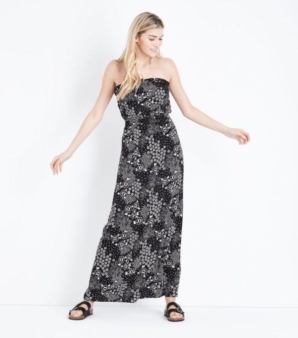 Длинное черное с белым платье