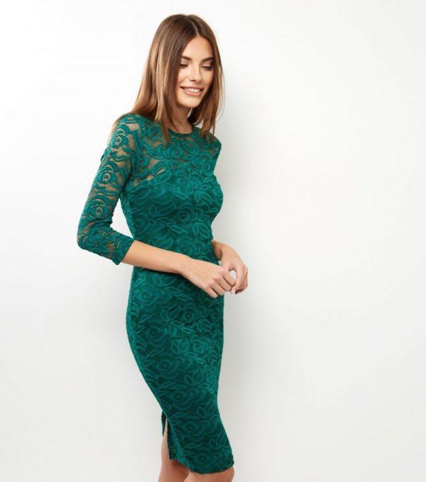 Офисное зеленое платье