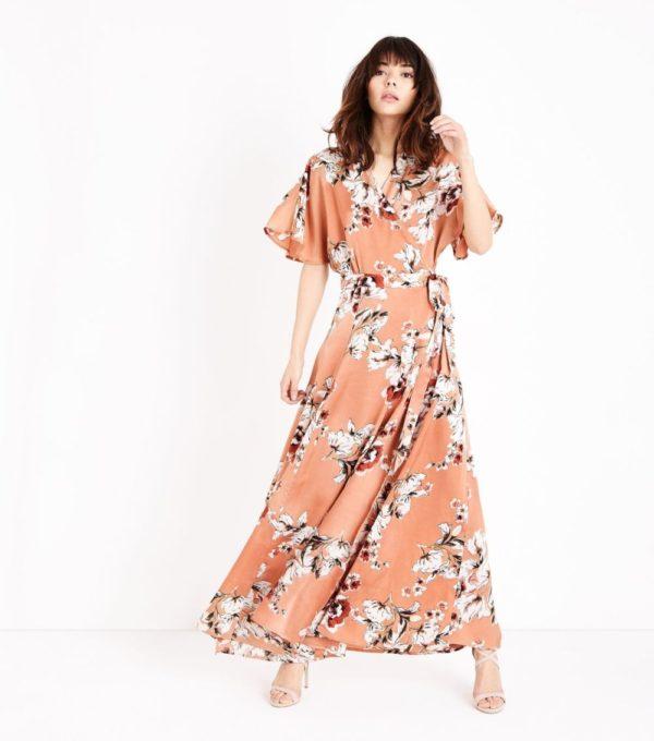 Длинное розовое ы цветок платье