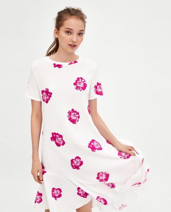 белое в цветок платье 2018-2019