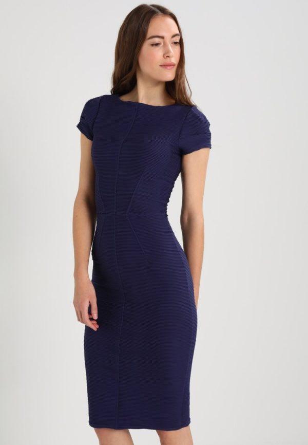 Офисное синее платье