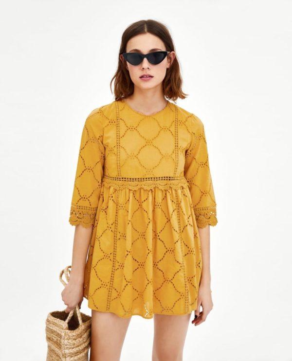 Платья 2021 года: короткое желтое