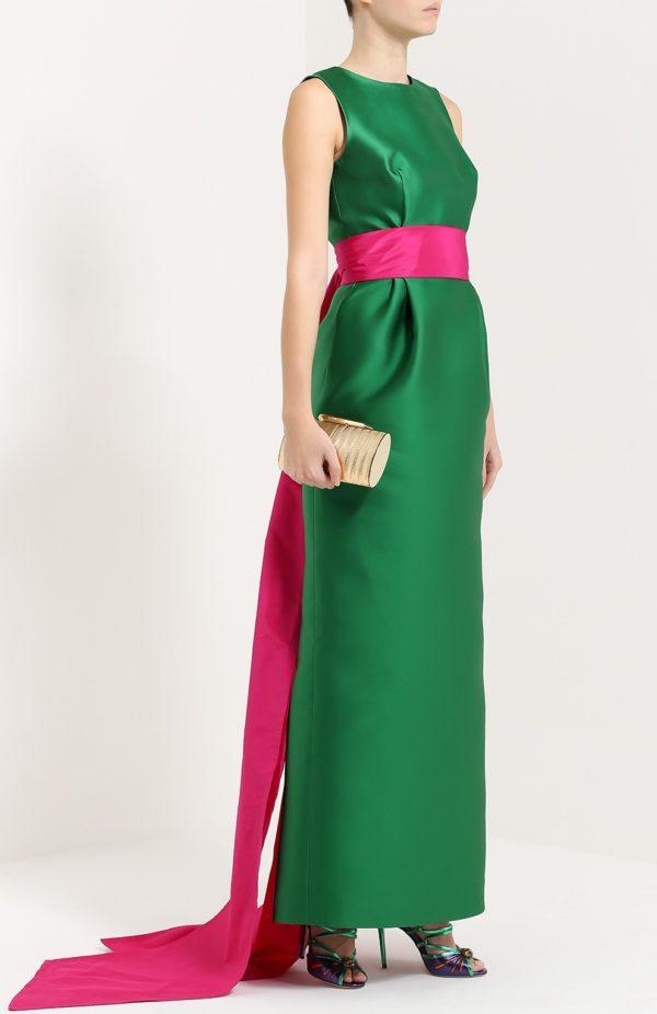 Выпускные платья: зеленое с контрастным поясом