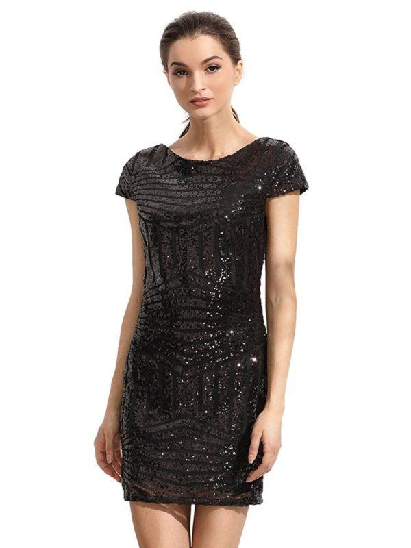 Выпускные платья: Короткое черное блестящее