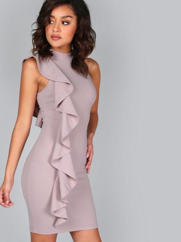Выпускное платье: короткое лиловое