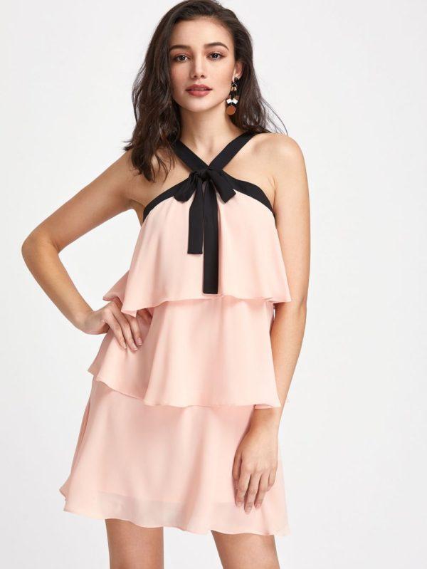 Выпускное платье: Короткое розовое