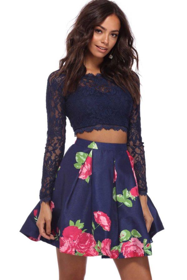 Выпускное платье: Раздельное синее