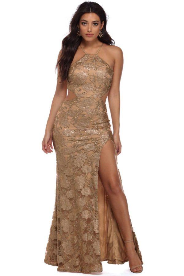 Выпускное платье: Кружевное коричневое
