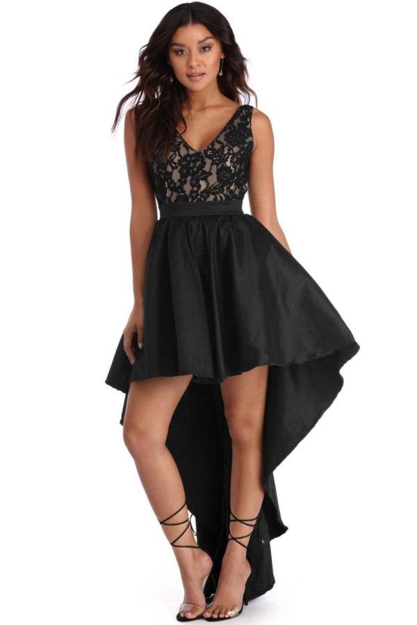 Выпускное платье: Кружевное черное асимметричное