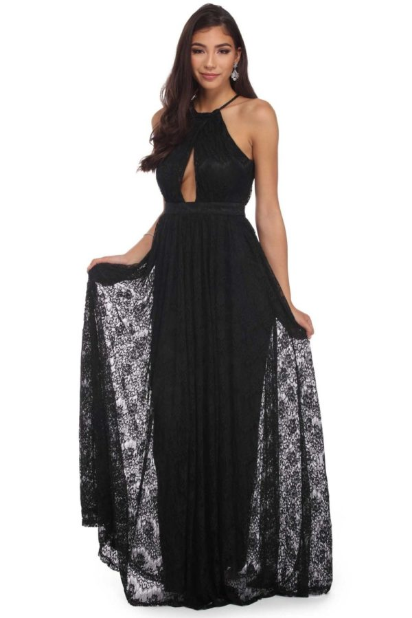 Выпускное платье: кружевное черное длинное
