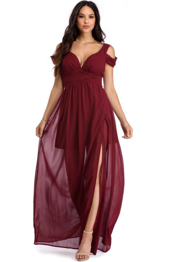 платья на выпускной: Греческое бордовое