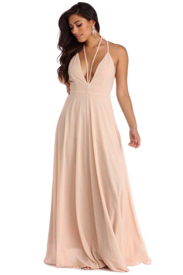 Выпускное платье: Греческое розовое длинное