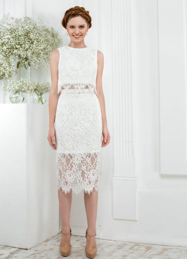 Выпускное платье: Раздельное белое ажурное