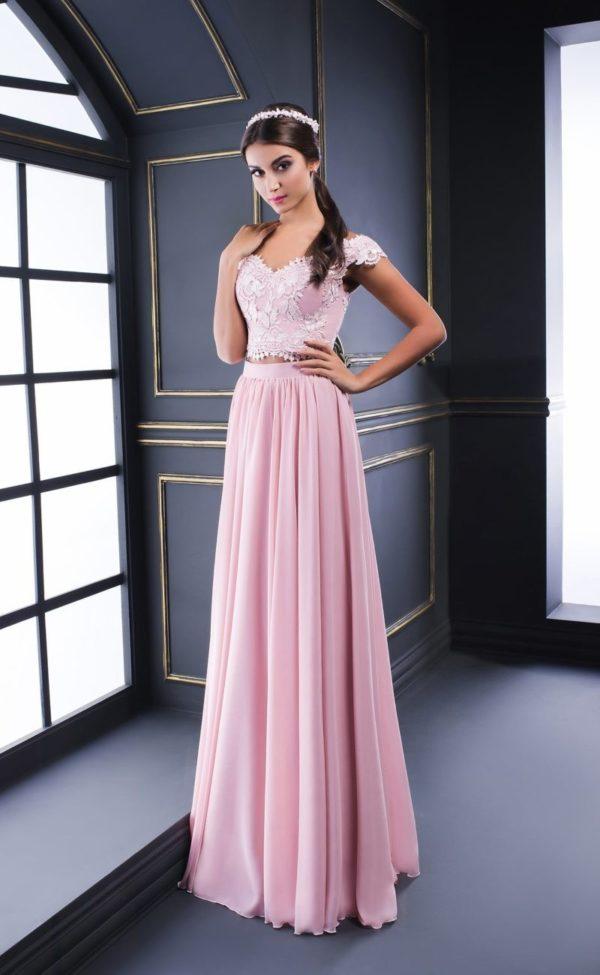 Выпускное платье: Раздельное розовое ажурное