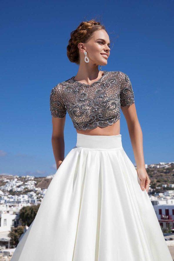 Выпускное платье: Раздельное белое