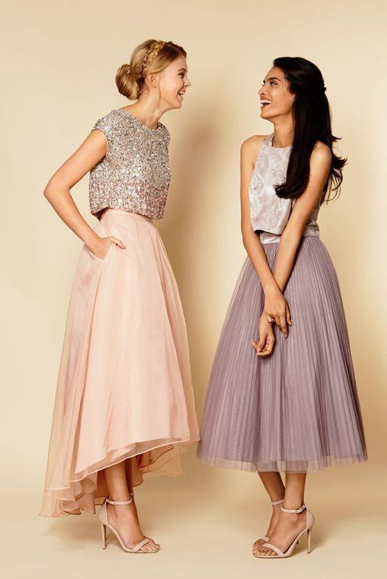 Выпускное платье: Раздельное бежевое
