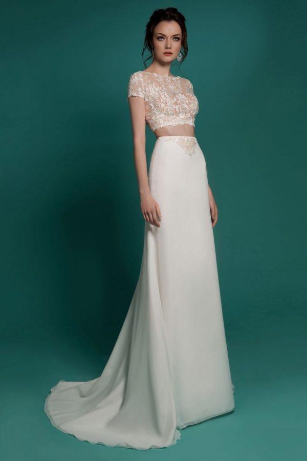Выпускное платье: Раздельное белое платье