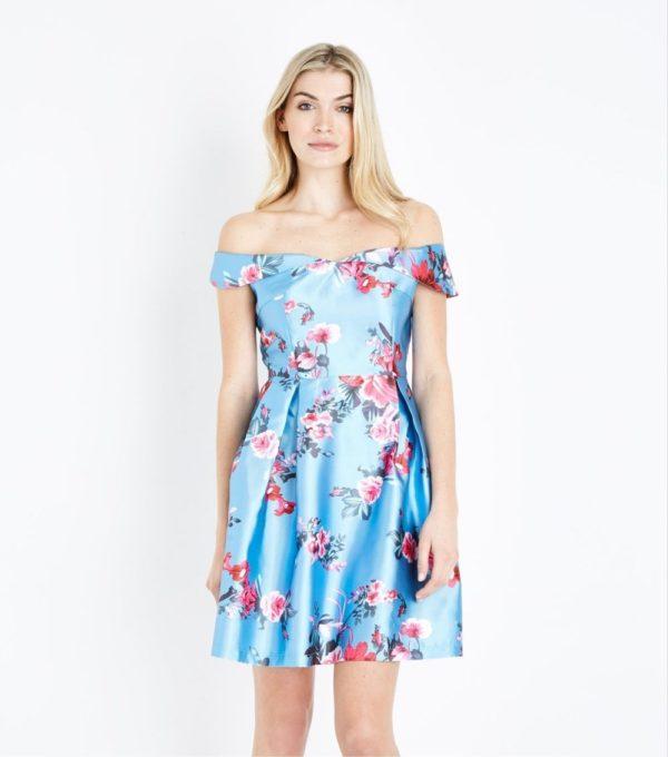 Платья на выпускной 2019 11 класс: голубое в цветочек
