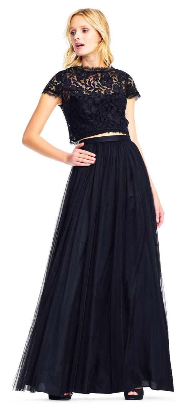 Выпускное платье: Кружевное черное раздельное