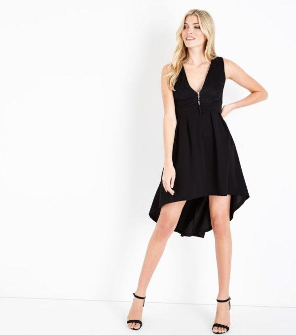 Платья на выпускной 2019 11 класс: черное асимметричное